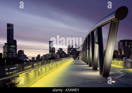 Overview of city skyline from William Barak Bridge, Melbourne, Australia - Stock Photo