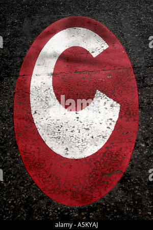Sign on the road indicating an entrance to the London Congestion Charging Zone - Stock Photo
