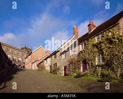Cottages on Gold Hill in Shaftesbury Village Dorset England - Stock Photo