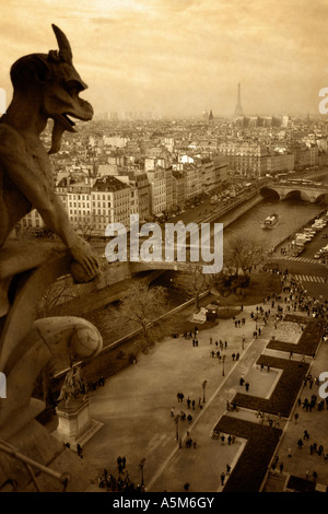 Vintage look at the Paris skyline and the Seine river from the top of Notre Dame Cathedral. - Stock Photo
