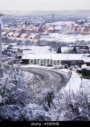 Parkhall estate (Stoke-on-Trent) during winter snow - Stock Photo