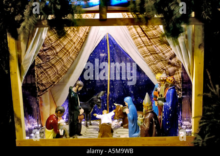 Paris France Interior Creche Christmas nativity, Scene Outside Church at Night - Stock Photo