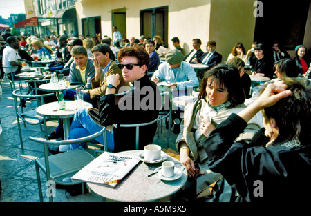 Paris France, People Sharing Drinks on Cafe Restaurant Terrace in 'Les Halles' 'Cafe Costes' (Now Closed) Parisian - Stock Photo