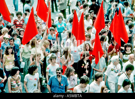 Paris France, Demonstration of French Labor Union  'C.G.T' Carrying Red Flags of Communist Party During 'May Day' - Stock Photo