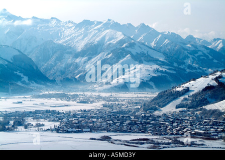 Town of Kaprun and Grossglockner group of mountains Austria - Stock Photo