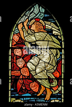 Angel with cherubs. North window in Jesus Church, Troutbeck, Cumbria, England, U.K., Europe. - Stock Photo
