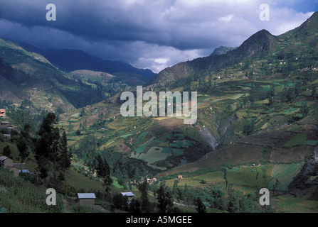 Agricultural land on mountain slopes above 2000 meters Cordillera real Andes mountains Sorata Yungas region Bolivia - Stock Photo