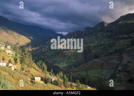 Agricultural land on mountain slopes abover2000 meters at Sorata Yungas region Cordillera real Andes mountains Bolivia - Stock Photo