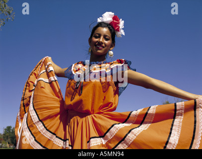 Mexican girl in national dress - Stock Photo
