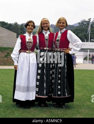 Norwegian women in national costume - Stock Photo