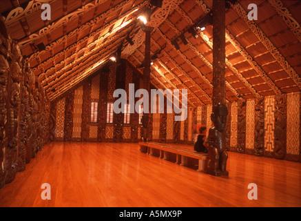 Whare Runanga Maori meeting house.  Waitangi National Reserve North Island New Zealand - Stock Photo