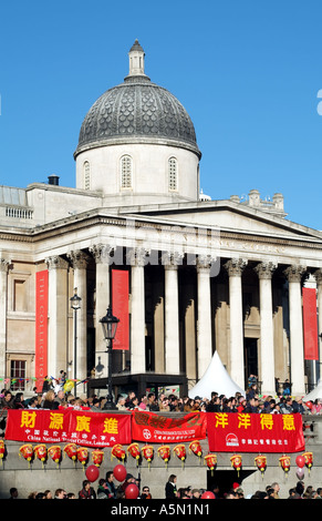 The National Gallery on Trafalgar Square central London United Kingdom Chinese New Year celebrations - Stock Photo