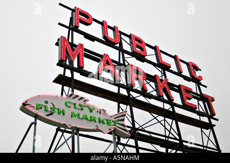 Public Market and City Fish Market sign at the Pike Street Market in Seattle - Stock Photo