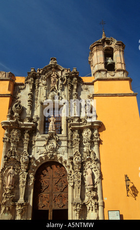 Church of San Francisco facade in Guanajuato, Mexico - Stock Photo