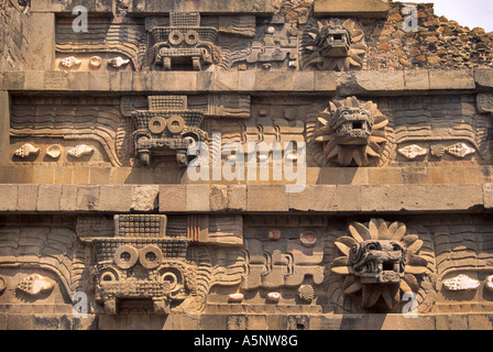 Reliefs at Temple of Feathered Serpent (Quetzalcoatl) at Teotihuacan, Mexico - Stock Photo