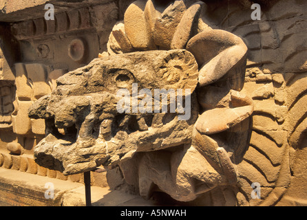 Quetzalcoatl head at Temple of Feathered Serpent at ...