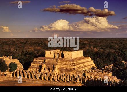 Grupo de las Mil Columnas (1000 Columns) Mayan ruins at Templo de Chac Mool, Chichen Itza, Yucatan, Mexico - Stock Photo