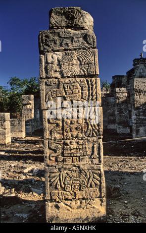 Grupo de las Mil Columnas (1000 Columns) Mayan ruins at Chichen Itza, Yucatan, Mexico - Stock Photo