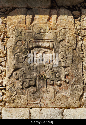 Carving at Plataforma de Venus, Mayan Toltec ruins at Chichen Itza, Yucatan, Mexico - Stock Photo