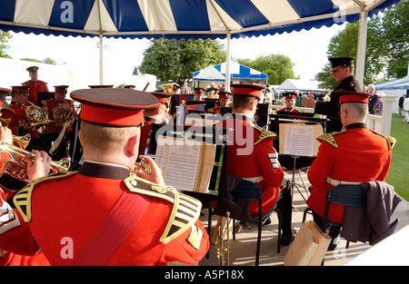 The Band of the Grenadier Guards play during the tea break in the Stewards Enclosure at  Henley Royal Regatta, Henley - Stock Photo