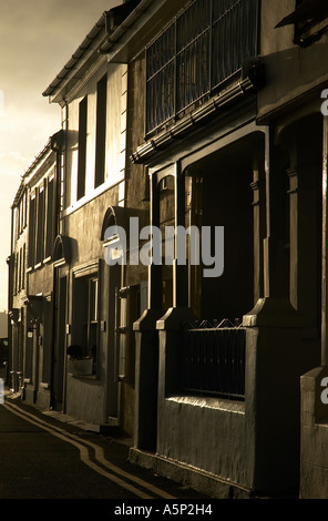 Houses in St Mawes at sunset Cornwall United kingdom - Stock Photo