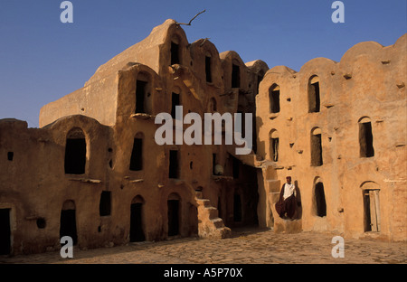 Ksar Ouled Soltane fortified granary ghorfas cells used in the past to store grain Tunisia - Stock Photo