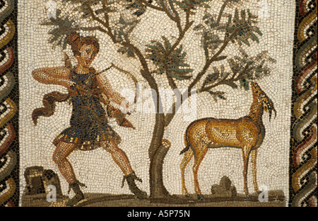 Mosaic of Diana godess of hunting from Thuburdo Majus Bardo museum Tunis Tunisia - Stock Photo