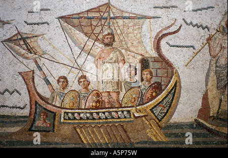 Mosaic of Ulysses tied to the mast of a ship to resist the songs of the Sirens from Dougga Bardo museum Tunis Tunisia - Stock Photo