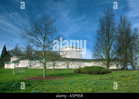 Commonwealth Air Forces Memorial Runnymede Surrey England From South East - Entrance, Shrine, Astral Crown & Lookout - Stock Photo