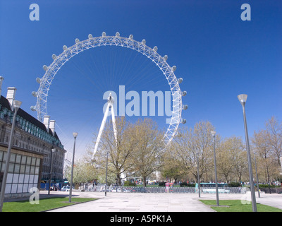 British Airways London Eye approach through Jubilee Gardens on the South Bank - Stock Photo