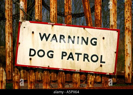 Warning Dog Patrol sign near Eshott on the A1 motorway Northumberland United Kingdom Great Britain England UK - Stock Photo