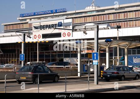 Airport Geneva Cointrin departure hall Switzerland - Stock Photo
