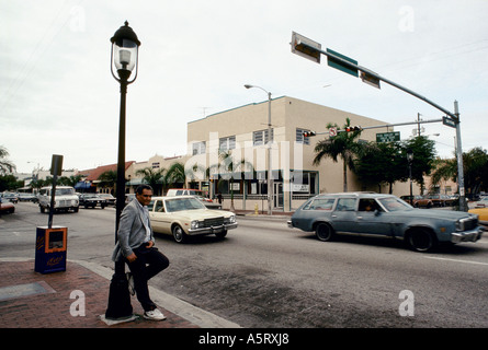 CUBAN EXILE COMMUNITY MIAMI A STREET SCENE OF MIAMI S LITTLE HAVANA THE HEART OF THE DISTRICT IS 8TH ST CALLE OCHO - Stock Photo