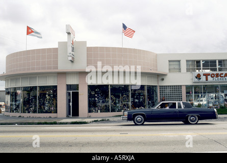 CUBAN EXILE COMMUNITY MIAMI STREET SCENE IN MIAMI S LITTLE HAVANA A DRIVER IN BLACK CAR STOPS BY A FLOWER SHOP TOSCA - Stock Photo