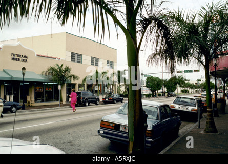 CUBAN EXILE COMMUNITY MIAMI STREET SCENE OF MIAMI S LITTLE HAVANA - Stock Photo