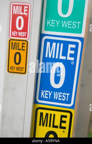 Mile marker zero bumper stickers key west florida stock photo