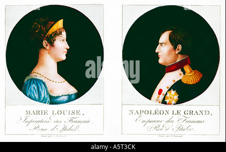 Napoleon et Marie Louise Emperoro and Empress married in 1810 sternly portrayed in an engraving by Bertrand - Stock Photo