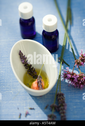 Essential oils and flowers macerating in oil - Stock Photo