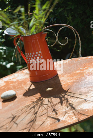 Bamboo stems in pitcher, on outdoor table - Stock Photo