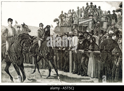 The Derby Preliminary Canter 1884 engraving of the horses going down to the start of the classic English flat race - Stock Photo