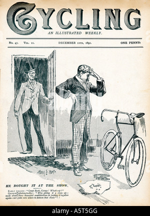 Bought At The Show 1891 cover of Cycling magazine showing the perils of assembling your own machine - Stock Photo