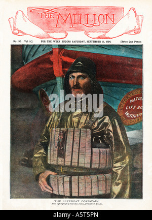 The Lifeboat Coxswain The popular Victorian magazine with a lifeboatman on the cover dressed up ready for the rescue - Stock Photo