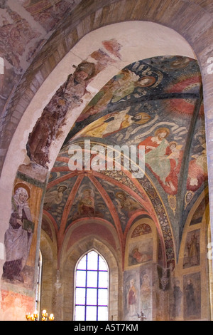 Murals frescoes on ceiling in interior of the Basilica of St George Prague Castle Czech Republic Eastern Europe - Stock Photo