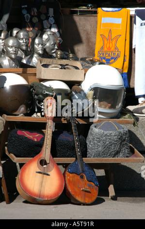 Soviet Era souvenirs in the street shop in Andreevsky Spusk in Kiev, Urkaine - Stock Photo