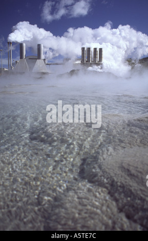 Industrial Geothermal Power Plant Iceland - Stock Photo