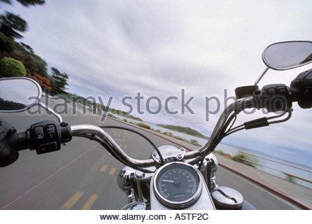 Rider's view of road and motorcycle. (Sausolito, San Francisco, California, USA) - Stock Photo