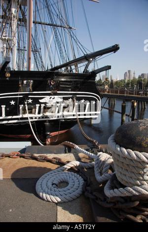 USS Constitution old ironsides frigate replica Boston harbor Massachusetts usa - Stock Photo