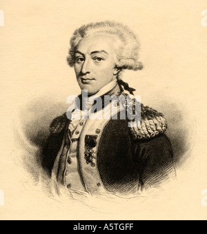 Marie Joseph Paul Yves Roch Gilbert de Motier, Marquis de Lafayette, 1757 -1834.  French military leader and statesman. - Stock Photo