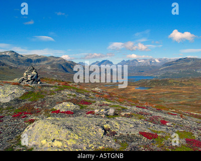 The turning of the seasons Indian summer Jotunheimen Norway - Stock Photo