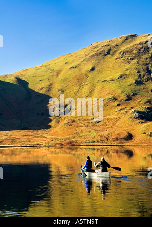 Canoeists on Crummock Water, Lake District National Park, Cumbria, England, UK - Stock Photo